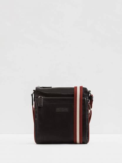 BALLY 經典TUSTON 紅白帶雙拉鏈牛皮日字斜背包 - 巧克力
