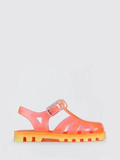 JuJu PROJECT Jelly 兒童繽紛果凍涼鞋 - 粉膚 x 亮黃