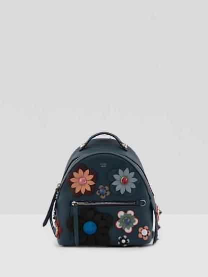 FENDI 牛皮立體花卉後背包 - 藍