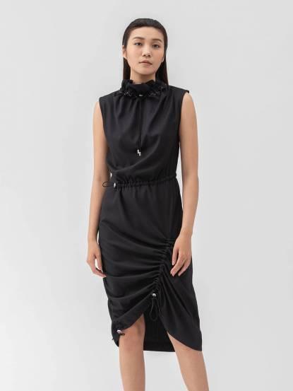 Y-Z STUDIO 抽繩高領洋裝 - 黑