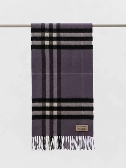 BURBERRY 經典格紋喀什米爾圍巾 - 紫丁香