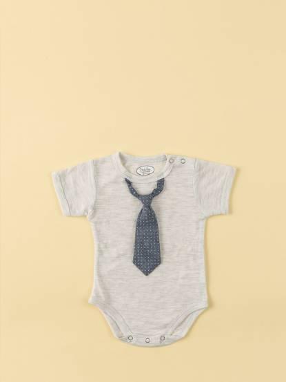 Frenchie mini couture 男嬰連身衣 - 小雅痞領帶 / 淺灰短袖