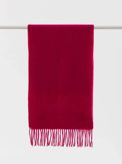 Saint Laurent YSL 素面純羊毛 / CASHMERE 混紡圍巾 - 桃紅