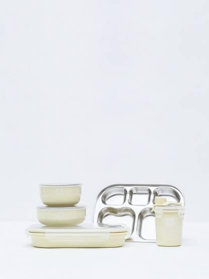 Kangovou 小袋鼠不鏽鋼安全兒童餐具組 - 檸檬黃