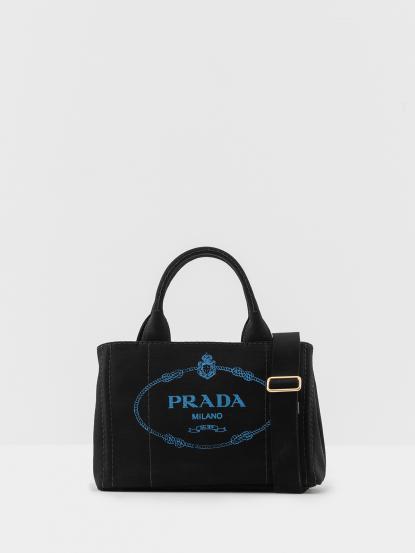 PRADA CANAPA 金色三角 LOGO 帆布縫線造型手提斜背包 - 黑色 / 印花藍