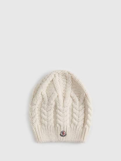 MONCLER 經典品牌 LOGO 羊毛針織毛帽 - 白