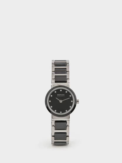 BERING 丹麥手錶晶鑽刻度陶瓷錶系列 - 25 mm / 銀 x 黑