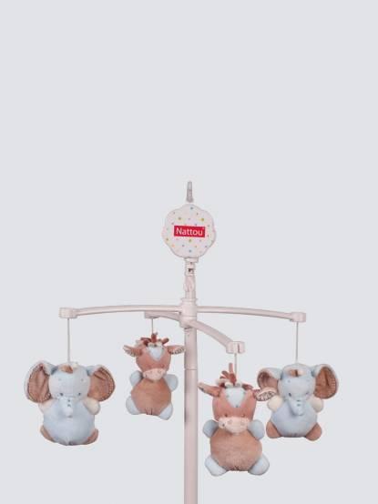 NATTOU 利戈樂系列 絨毛動物床頭音樂鈴 - 藍