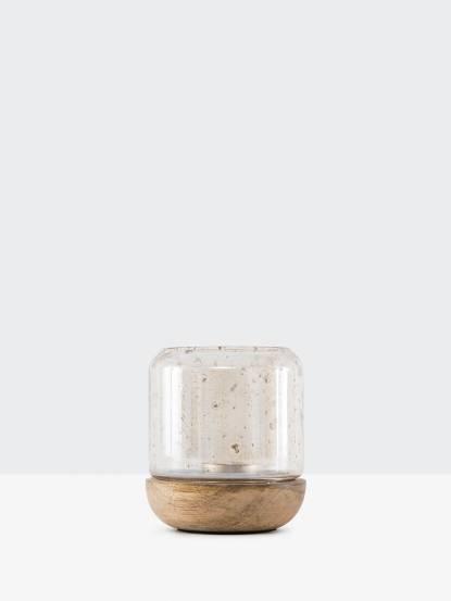 常室 丹麥木座玻璃燭罩 - 小