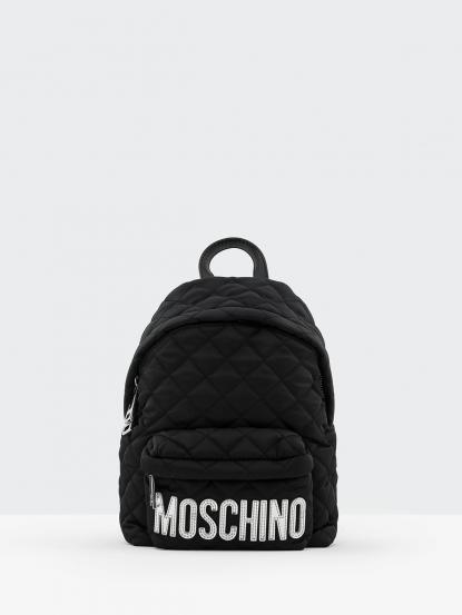 MOSCHINO 經典菱格紋縫線銀色 LOGO 尼龍後背包 - 小 / 黑色