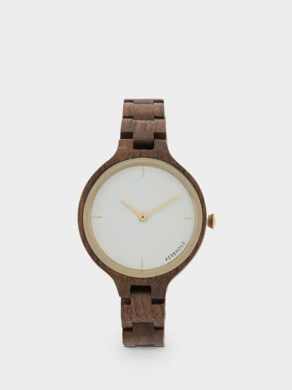 KERBHOLZ 原木手錶 HINZE - 核桃木金框 / 女款 / 38mm