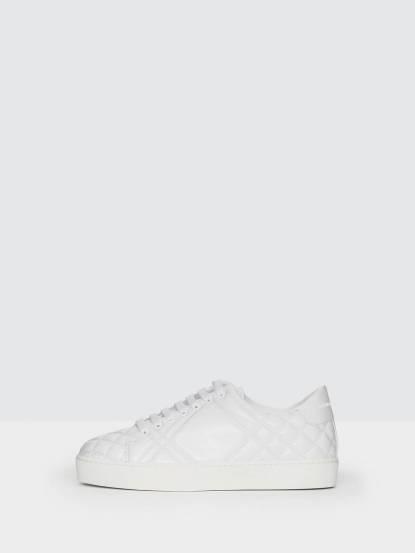 BURBERRY 格紋絎縫皮革運動鞋 - 光白色