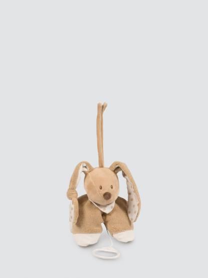 NATTOU 卡布奇諾系列  絨毛音樂拉鈴 - 豆豆兔