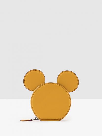 COACH 迪士尼聯名款全皮米老鼠耳朵零錢包 - 黃色