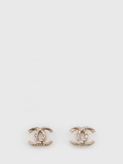 CHANEL 金色雙 C 水鑽鑲嵌耳環