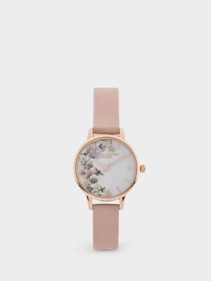 OLIVIA BURTON 英倫復古手錶  迷幻花園花季 粉色真皮錶帶 x 玫瑰金框 - 30 mm