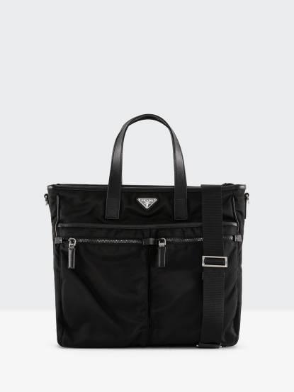 PRADA TESSUTO x SAFFI NERO 尼龍帆布直立式雙口袋購物肩揹包 - 黑色