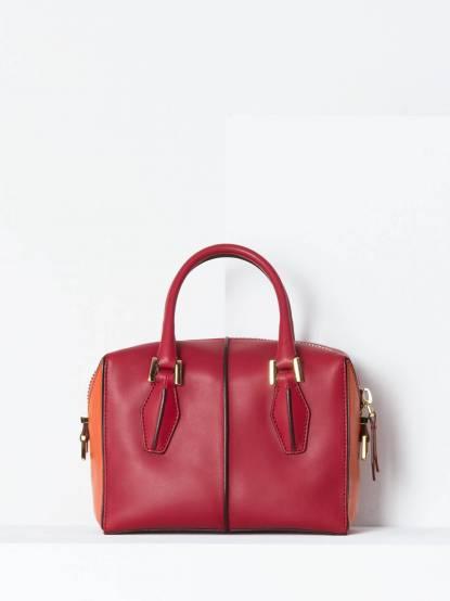 TOD'S D - Cube Bowler Bag 撞色拼接方型保齡球包 - Mini / 紅橘