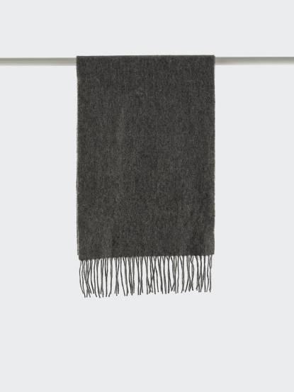 Saint Laurent YSL 素面純羊毛 / CASHMERE 混紡圍巾 - 淺灰