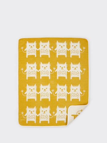 KLIPPAN 有機棉毯 - 逗趣貓 / 芥末黃