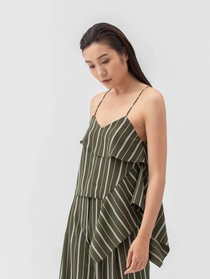 Y-Z STUDIO 不對稱細肩帶上衣 - 綠