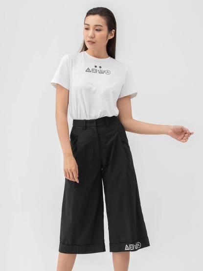 Y-Z STUDIO 補丁口袋七分褲 - 黑