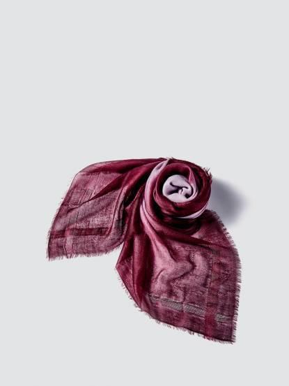 TAN MAY Edge silk dyeing 經典邊蠶絲緞染羊絨方巾 - 晚宴紫