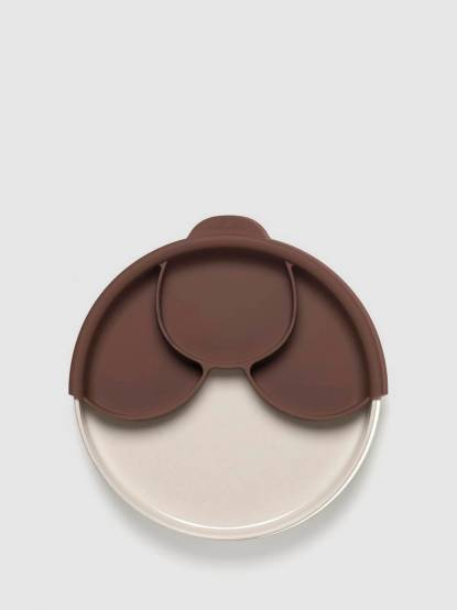 BONNSU Miniware 天然寶貝碗 兒童分隔餐盤組 - 牛奶麵包盤 / 深可可分隔盤