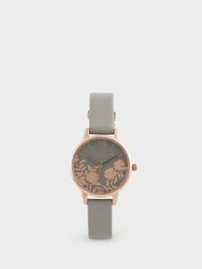 OLIVIA BURTON 英倫復古手錶浮金歲月法式蕾絲 灰色真皮錶帶 x 玫瑰金錶框 - 30 mm