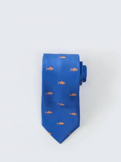 Tommy Hilfiger 童趣小魚圖騰顯色領帶 - 亮藍 x 黃