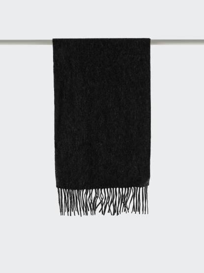Saint Laurent YSL 素面純羊毛 / CASHMERE 混紡圍巾 - 深灰