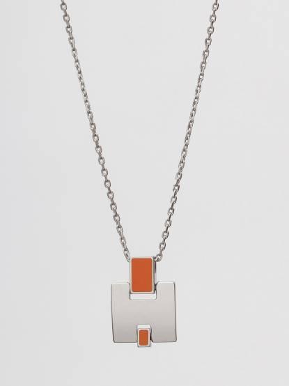 HERMÈS Eileen 經典 H logo 銀飾項鍊 - 銀 x 橘