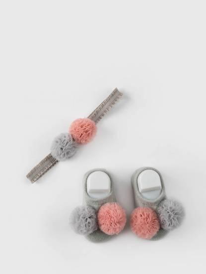 日安朵朵 Tea Party 女嬰童髮飾童襪組 - 泡泡糖