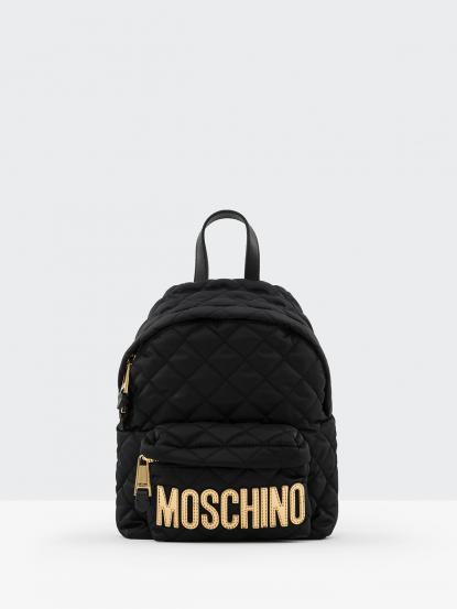 MOSCHINO 經典菱格紋縫線金色 LOGO 尼龍後背包 - 小 / 黑色