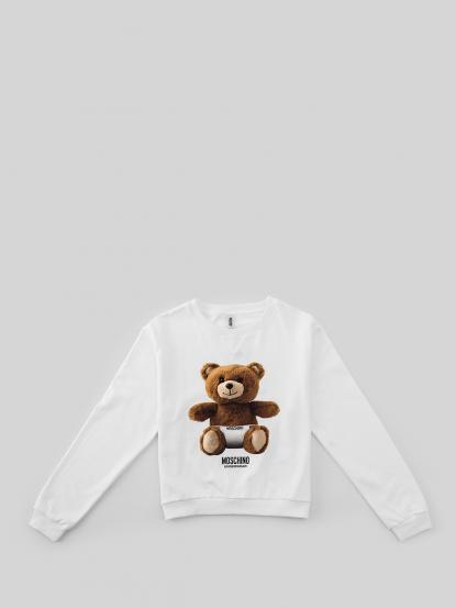 MOSCHINO 印刷熊熊長䄂短版上衣 - 白色