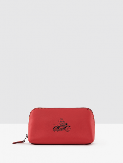 COACH 迪士尼聯名款全皮打檔車米奇梯型化妝包 - 中 / 紅