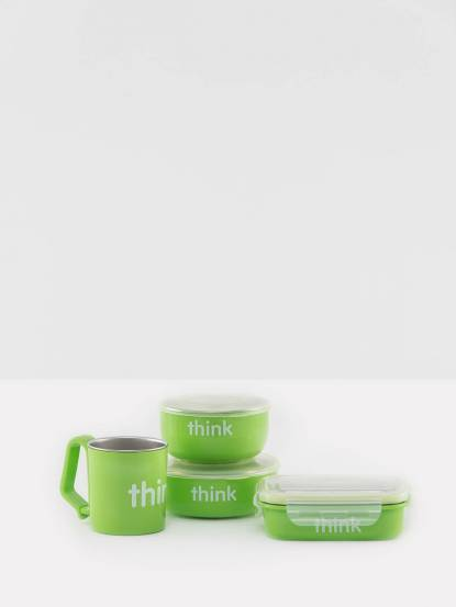thinkbaby 無毒不鏽鋼餐具組 - 蘋果綠