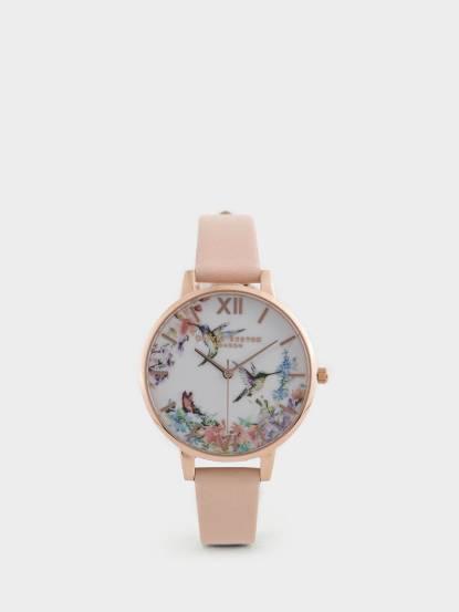 OLIVIA BURTON 英倫復古手錶浮世繪花鳥 粉色真皮錶帶 x 玫瑰金錶框 - 38 mm