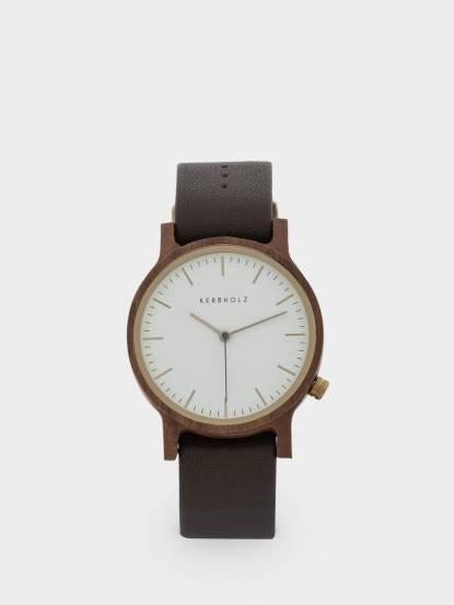 KERBHOLZ 原木手錶 Walter - 核桃木 x 棕褐真皮錶帶 / 40mm