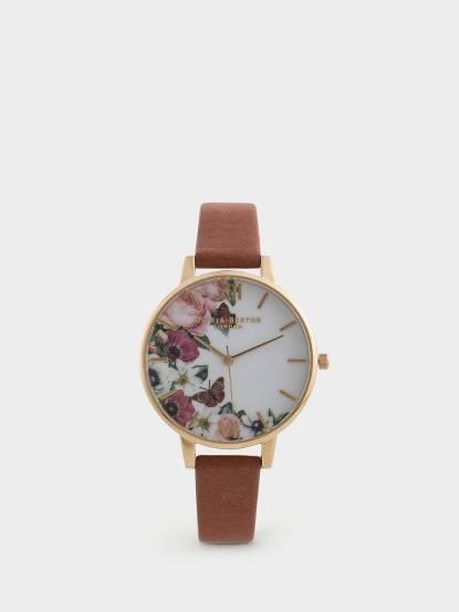 OLIVIA BURTON 英倫復古手錶銀蓮花牡丹花園 裸膚色真皮錶帶 x 金色錶框 - 38 mm