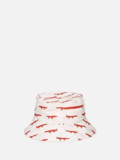 trixie 有機棉遮陽帽 - 紅白鱷魚