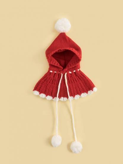 日安朵朵 女童針織毛線帽披肩