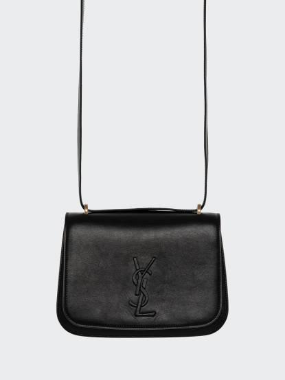 Saint Laurent YSL SPONTINI 系列小牛皮黑色 LOGO 磁扣翻蓋肩 / 斜揹包 - 小 x 黑