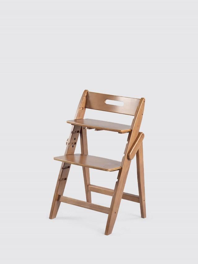 moji 全成長型原木高腳椅 - 胡桃棕