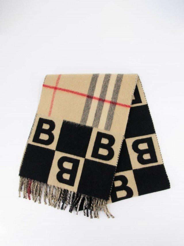 BURBERRY 經典 B 字母圖案拼格紋羊毛混紡圍巾