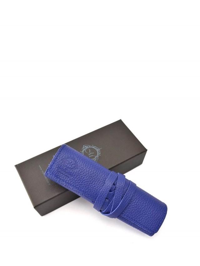Manufactus 義大利真皮筆袋 - 藍色