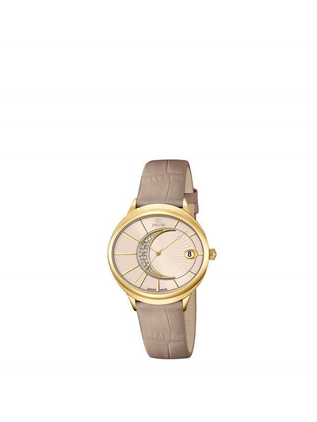JAGUAR J803 - 右弦月金框石英女錶 x 膚色金框