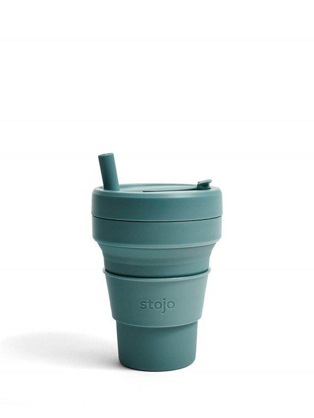 stojo 折疊伸縮杯 16oz - 尤加利綠