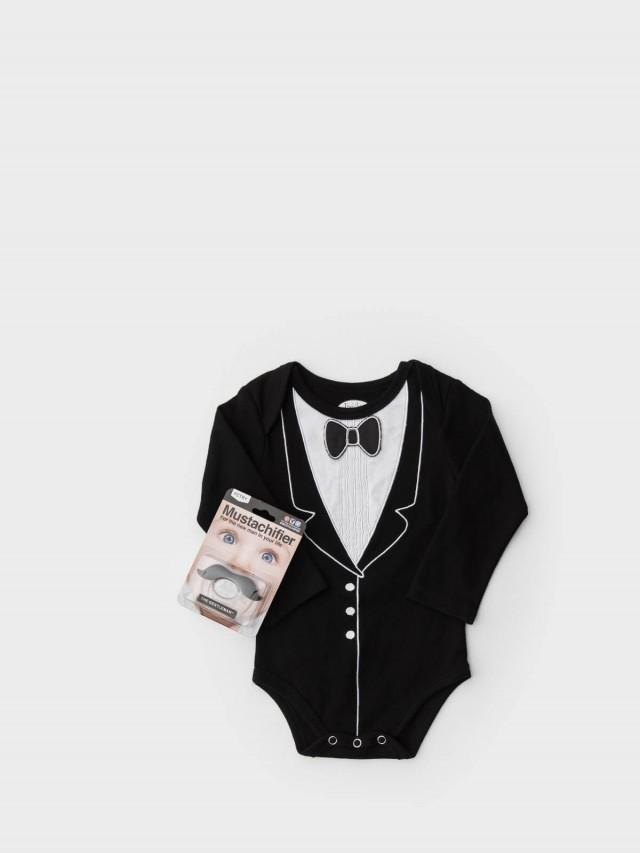 Frenchie mini couture FMC X Mustachifier 男嬰禮盒組 - 李傲納多雅痞版 / 長袖