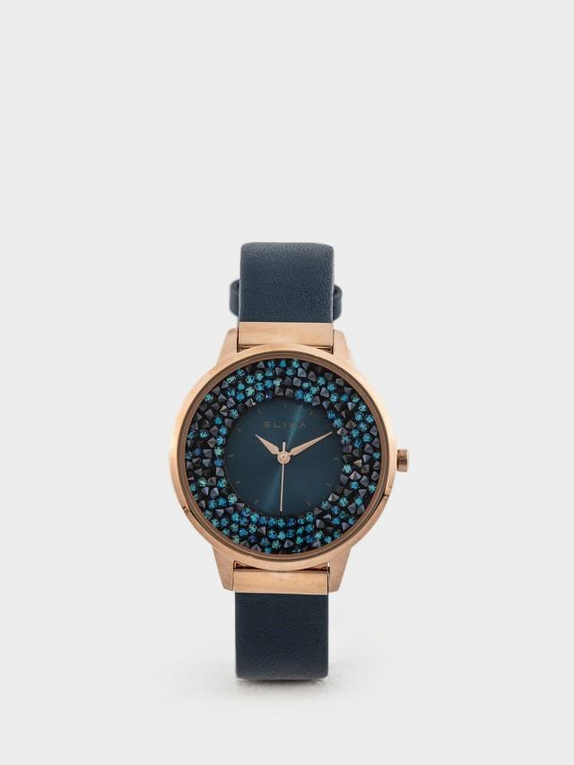 ELIXA 瑞士手錶 Finesse 閃耀晶鑽錶面簡約刻度皮革系列 - 38 mm / 星辰藍